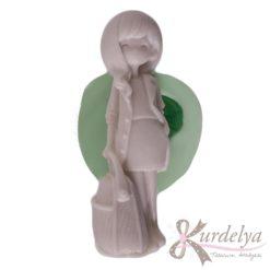 Çantalı Dalgalı Saçlı Kız silikon kalıp - KK-1604