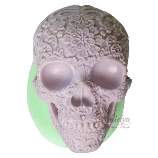 Çiçekli İskelet Kafatası silikon kalıp - KK-1996