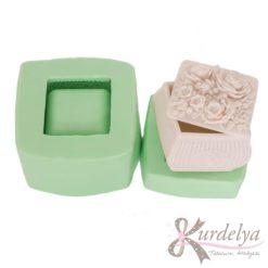 Küçük Çiçekli Kare Kutu silikon kalıp - KK-1498