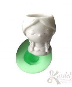 Peri Masalı Örgü Saçlı Kız Saksı silikon ve kokulu taş kalıbı