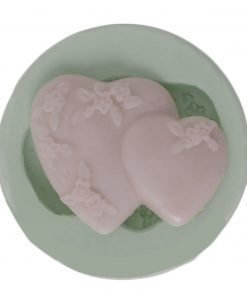 Floral Double Heart candle silicone mold, Floral Double Heart concrete silicone mold, Floral Double Heart resin silicone mold, Floral Double Heart soap silicone mold, Floral Double Heart epoxy silicone mold, Floral Double Heart clay silicone mold