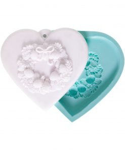 Heart with Wreath Perforated candle silicone mold, Heart with Wreath Perforated concrete silicone mold, Heart with Wreath Perforated resin silicone mold, Heart with Wreath Perforated soap silicone mold, Heart with Wreath Perforated epoxy silicone mold, Heart with Wreath Perforated clay silicone mold